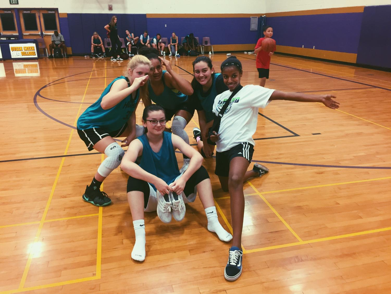 Melanie Gagnon, Aliyah Taveras, Tieyah Rosier, Norah Washington, Natalie Valles. Participate in a pre season game! After a two game win.