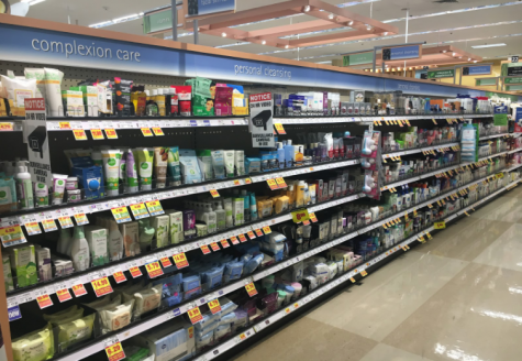 Aisle of facial products that people can choose from.  Photo by: Brooke Gardner