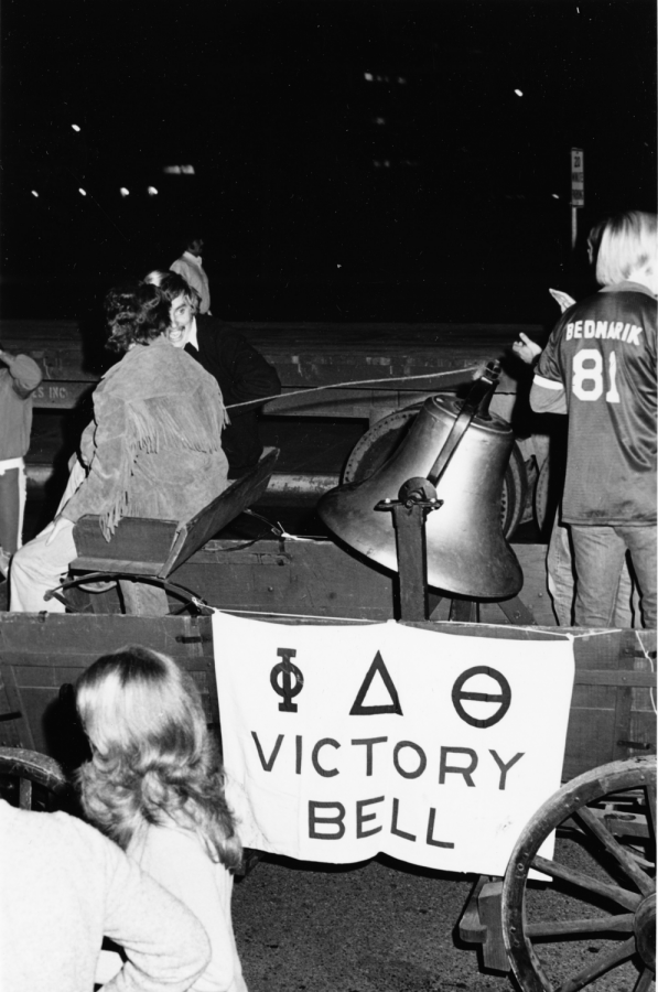 Students at the University of Texas celebrate their homecoming game win!  University of Texas at Arlington (U.T.A) homecoming football game, University of Texas at Arlington News service photograph collection, https://library.uta.edu/digitalgallery/img/10011009,  CC by 4.0.